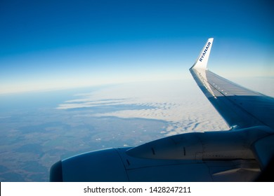 GDANSK, POLAND- NOVEMBER 20, 2012 : Wing of Boeing 737-800 during the Ryanair flight between Gdansk and Cobh on November 20, 2012. Ryanair Ltd. is an irish low-cost airline.