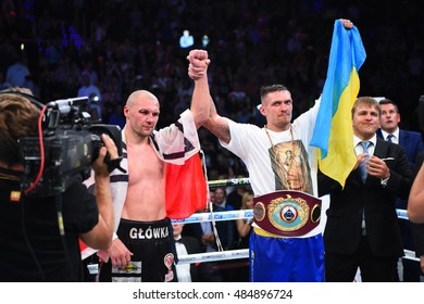 Gdansk, Poland - September  17, 2016 : fight for WBO Inter-Continental cruiserweight champion title between Oleksandr Usyk (Ukraine) and Krzysztof Glowacki at Ergo Arena, Gdansk, Poland
