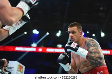 Gdansk, Poland -September 17, 2016: An unidentified boxers in the ring during fight for ranking points in the Ergo Arena, Gdansk, Poland