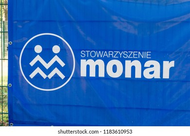Gdansk, Poland - September 19, 2018: Logo and sign of Monar. Monar is a Polish non-governmental organization focused on helping drug addicts, the homeless, those who are HIV positive or who have AIDS.