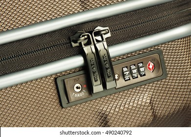 GDANSK, POLAND - SEPTEMBER 20, 2016. Bagagge with TSA lock made by Travelite. TSA is the global standard for travel security includes more than 700 brands and 130 luggage manufacturers.