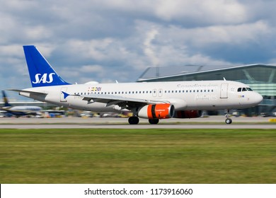 GDANSK, POLAND - SEPTEMBER 3, 2018: Passenger airplane SAS Scandinavian Airlines System plane just arrived on the runway at the International Airport Lech Walesa in Gdansk. SAS are a Nordic airlines.