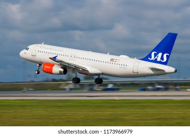 GDANSK, POLAND - SEPTEMBER 3, 2018: Passenger airplane SAS Scandinavian Airlines System plane just arrived on the runway at the International Airport Lech Walesa in Gdansk. SAS are a Nordic airlines