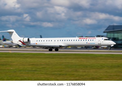 GDANSK, POLAND- SEPTEMBER 3, 2018: Iberia Regional- Air Nostrum are Spanish regional airlines with based in Valencia. The CRJ 1000 Bombardier plane landing at the International Airport in Gdansk.
