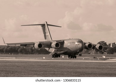GDANSK, POLAND- September 4, 2018: Boeing C-17 Globemaster III U.S. Air Force heavy military transport plane landing at the Lech Walesa International Airport in Gdansk