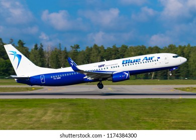 GDANSK, POLAND - SEPTEMBER 6, 2018: Blue Air is a Romanian cheap airline based in Bucharest. Boeing 737-82R  airplane PLL LOT is starting up and flying from Lech Walesa International Airport in Gdansk