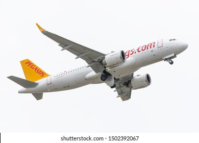 GDANSK, POLAND - SEPTEMBER 8, 2019: Isolated on the white background Airbus A320 Pegasus Airlines is a Turkish low- cost airline,with bases at several Turkish airports
