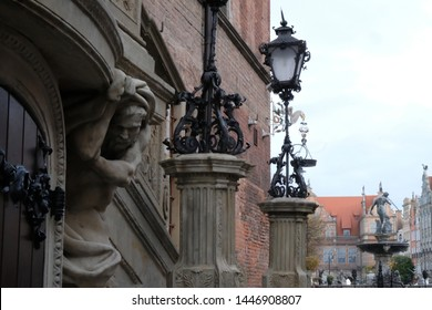 Gdansk, Poland - Stone details of Długa street in Old Town - giants (atlanty) from the forecourt of the Main Town Hall