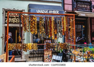 Gdansk, Poland-05.22.2018:Amber beads jewelry  for sale on an old town street gdansk,  Poland