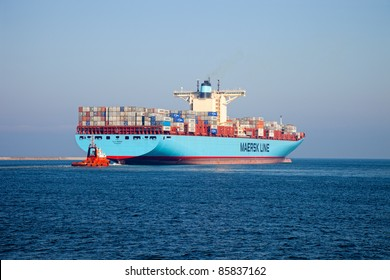 GDANSK, POLAND-OCTOBER 01: The Elly Maersk is currently one of the world's largest container vessels, length 397m, beam 56m, taking on board the 15000 containers on October 01, 2011 in Gdansk, Poland.