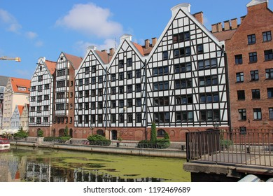 Gdansk, Poland-September 06, 2018: The restored buildings of the former granary on the Island of Warehouses.