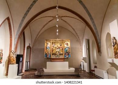 Gdansk, Pomerania Province / Poland - 05/08/2019. Inside the church in Malbork castle located near the town of Malbork, Poland.