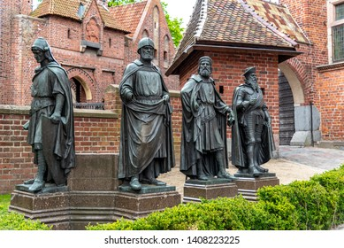 Gdansk, Pomerania Province / Poland - 05/08/2019. Statues of the Teutonic Knights in Malbork a 13th-century castle located near the town of Malbork, Poland. It is the largest castle in the world.