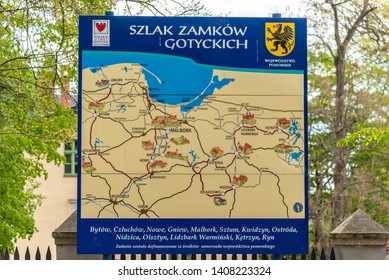 Gdansk, Pomerania Province / Poland - 05/08/2019. Map of Malbork and the surrounding area located at the castle located near the town of Malbork, Poland. It is the largest castle in the world.