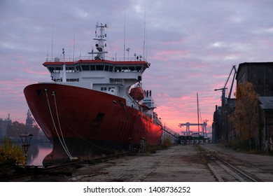 Gdansk shipyard area - cranes and ships at sunset. The Imperial Shipyard Trail,  Gdansk Shipyard, Poland