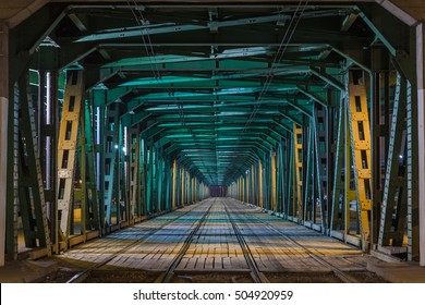 Gdanski tram bridge in Warsaw, rail bridge by night
