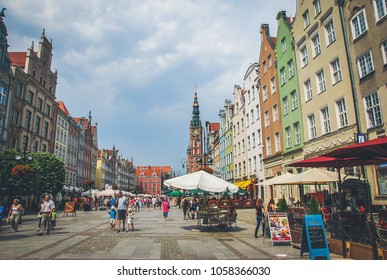 Gdansk/Poland - 02 July 2014: Main City Hall at Dlugi Targ Square in the downtown of Gdansk