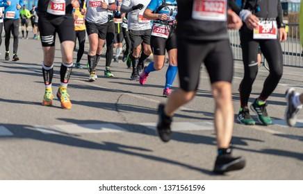 Gdansk/Poland - 14 April 2019:  Gdansk Marathon run. Colourful runners taking part in the run.