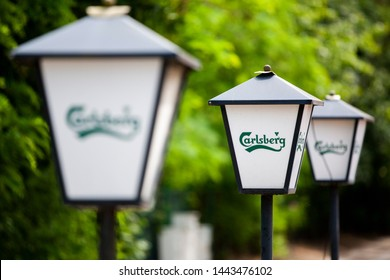 Gdansk/Poland June 25, 2019  Carlsberg logo. The Carlsberg Group is a Danish brewing company founded in 1847 by J.C. Jacobsen with headquarters located in Copenhagen, Denmark
