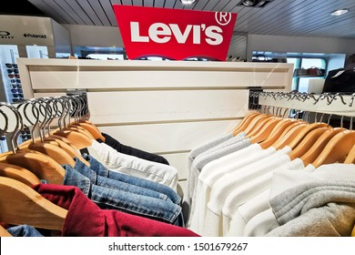 Gdansk/Poland, June 28, 2019  The Levis Levi Jeans Store. Levi Strauss Founded In 1853, Is An American Clothing Company Known Worldwide For It's Levi Strauss Brand Of Denim Jeans