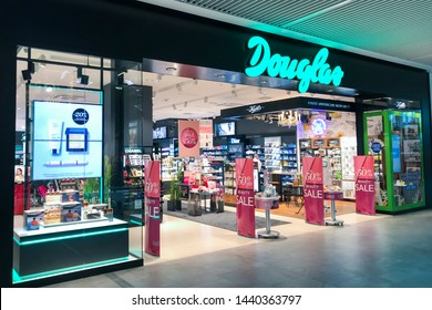 Gdansk/Poland June 28, 2019  perfumery Douglas window store with premium brand products, perfumery chain Douglas focuses on retailing various premium perfume, fragrance, care, makeup