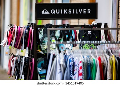 Gdansk/Poland June 28, 2019  Quiksilver is an Australian retail sporting brand, founded in Torquay, Australia