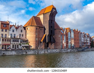 Gdansk,Poland-14 January 2019: old city in Poland with the oldest medieval port crane (Zuraw) in Europe and a promenade along the riverbank of Motlawa River