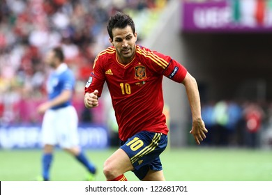 GDANSK,POLAND-JUNE 10,2012: Cesc Fabregas during the game between Italy and Spain for Euro 2012 in Gdansk Arena on 10th June 2012
