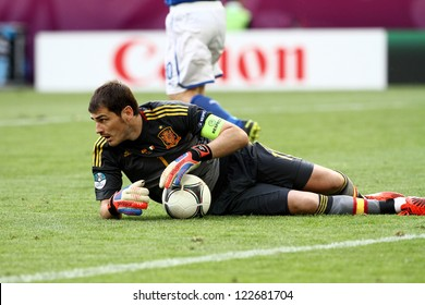 GDANSK,POLAND-JUNE 10,2012: Iker Casillas during the game between Italy and Spain for Euro 2012 in Gdansk Arena on 10th June 2012
