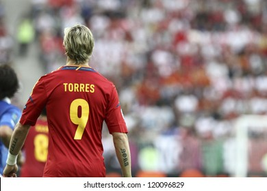 GDANSK,POLAND-JUNE 10,2012:Fernando Jose Torres Sanz during the game between Italy and Spain in Gdansk Arena on 10th June 2012