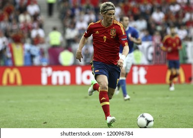 GDANSK,POLAND-JUNE 10,2012:Fernando JoseTorres Sanz during the game between Italy and Spain in Gdansk Arena on 10th June 2012