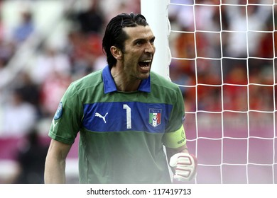 GDANSK,POLAND-JUNE 10,2012:Gianluigi Buffon during the game between Italy and Spain in Gdansk Arena on 10th June 2012