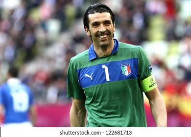 GDANSK,POLAND-JUNE 10,2012:Gianluigi Buffon during the game between Italy and Spain for Euro 2012 in Gdansk Arena on 10th June 2012