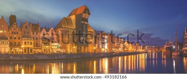 Gdansk,Poland,September 2016:Cityscape of Gdansk in Poland, panorama night city