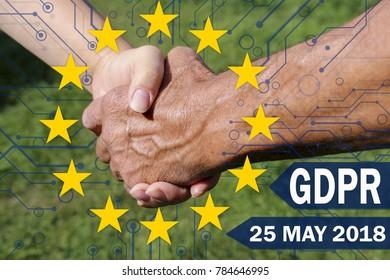 GDPR the background of handshake of businessmen.Business concept General Data Protection Regulation. Data Protection