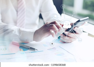 GDPR, Business Man and DATA Protection , Cyber security and privacy. technology and Business Communication. man using smartphone