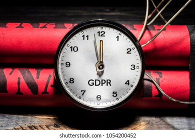 GDPR concept with dynamite, like a timed bomb.