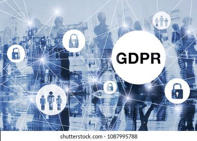 GDPR concept, general data protection regulation, blue background
