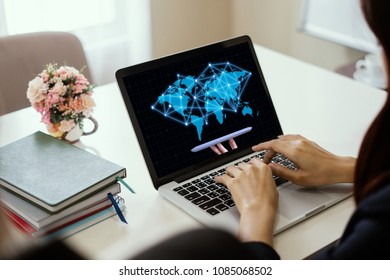 GDPR Concept,A girl works at laptop and hand holding digital tablets sign general data protection regulation and key icon on a laptop screen, Cybersecurity and information privacy,25 may 2018