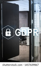 GDPR. Data Protection Regulation. Cyber security and privacy concept and Modern office with open space to work thought the window and background city.