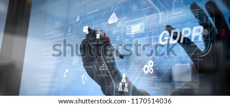 GDPR. Data Protection Regulation with Cyber security and privacy virtual diagram.Business team meeting. Photo professional investor working new computer with e mail interface.