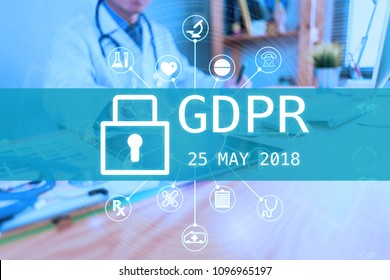 GDPR Data Protection Regulation healthcare on virtual panel medicine with doctor or medical students with stethoscope using digital tablet laptop, Health Check with digital system support for patient