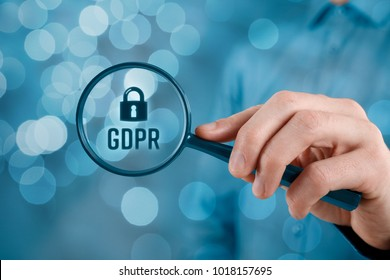 GDPR (general data protection regulation) concept. Businessman or IT technologist focus on GDPR problematics.