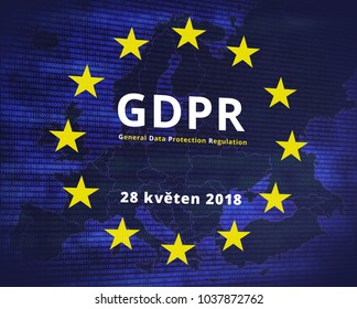 GDPR - General Data Protection Regulation. EU flag star and map.