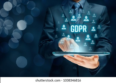 GDPR (general data protection regulation) concept. Businessman or IT technologist with text GDPR and icons of people.