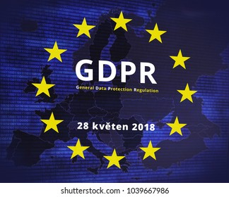 GDPR - General Data Protection Regulation. EU flag star and map.