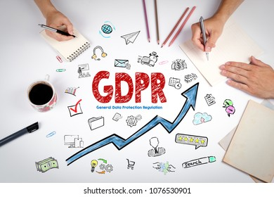 GDPR General Data Protection Regulation Concept.  Keywords and icons on white background