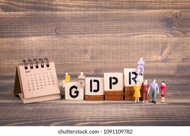 GDPR. General Data Protection Regulation. Cyber security and privacy concept. Wooden letters on the office desk, informative and communication background