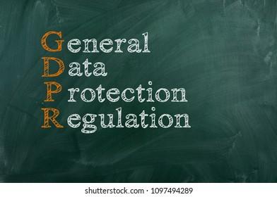 GDPR General Data Protection Regulation. Chalk board