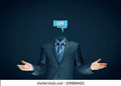 GDPR (general data protection regulation) concept. Businessman or IT technologist with abstract brain and text GDPR. Open gesture saying: it is easy to implement GDPR.